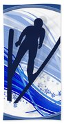Skiing And Snowflakes Beach Towel