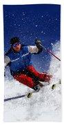 Skiing Down The Mountain Beach Towel