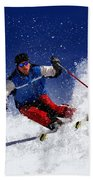 Skiing Down The Mountain Beach Sheet