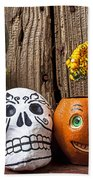 Skull And Jack-o-lantern Beach Towel