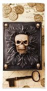 Skull Box With Skeleton Key Beach Towel