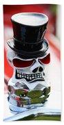 Skull With Top Hat Hood Ornament Beach Towel
