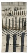 Slats Of Wooden Fence Throwing Shadows Beach Towel