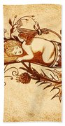 Sleeping Angel Original Coffee Painting Beach Towel