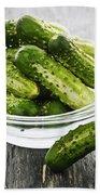Small Cucumbers In Bowl Beach Towel by Elena Elisseeva