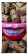 Smile Among Wine Corks Beach Towel