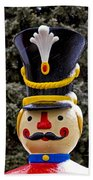Snow Coverd Toy Soldier Beach Towel