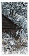 Snow Covered Barn Beach Towel