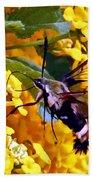 Snowberry Clearwing Hummingbird Moth Beach Towel