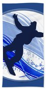 Snowboarding And Snowflakes Beach Towel