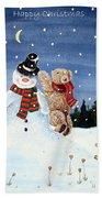 Snowman In Top Hat Beach Towel by Gordon Lavender