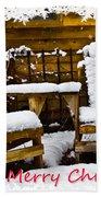 Snowy Coffee Holiday Card Beach Towel