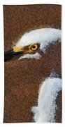 Snowy Egret Profile Painterly Beach Towel