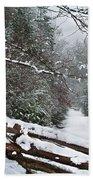 Snowy Fence Beach Towel