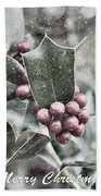 Snowy Holly Christmas Card Beach Towel