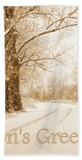 Soft Sepia Season's Greetings Card Beach Towel by Carol Groenen