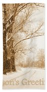 Soft Sepia Season's Greetings Beach Towel