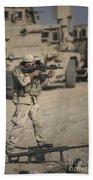Soldier Fires A M4 Carbine Beach Sheet