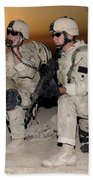 Soldiers Call In Air Support Beach Towel by Stocktrek Images