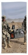 Soldiers Carry An Rq-11 Raven Unmanned Beach Towel