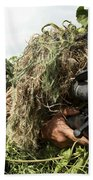 Soldiers Dressed In Ghillie Suits Beach Sheet