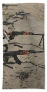Soldiers Fire A Russian Rpk Kalashnikov Beach Towel