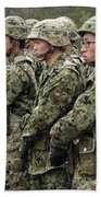 Soldiers From The Japan Ground Self Beach Towel by Stocktrek Images