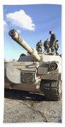 Soldiers Get Their Battletank Ready Beach Towel