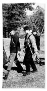 Soldiers March Black And White Beach Towel