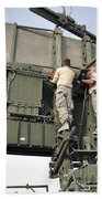 Soldiers Set Up A Tps-75 Radar Beach Towel