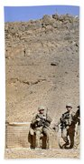 Soldiers Wait For Afghan National Beach Towel