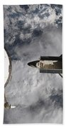 Space Shuttle Atlantis And The Docked Beach Towel
