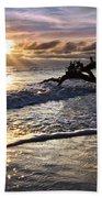 Sparkly Water At Driftwood Beach Beach Towel