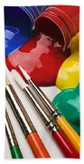 Spilt Paint And Brushes  Beach Sheet