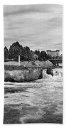 Spokane Falls From Lincoln Street Bridge In B And W Beach Towel