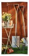 Spring Gardening Beach Towel by Amanda Elwell