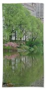 Spring Reflections Of Manhattan In Central Park Beach Towel