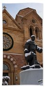 St Francis Cathedral In Santa Fe - Winter Beach Towel