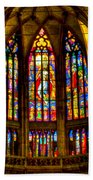 St Vitus Main Altar Stained Glass Beach Towel