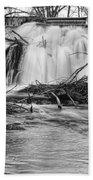 St Vrain River Waterfall Slow Flow Bw Beach Towel