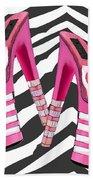 Stack 'em High Pink Platforms On Zebra Beach Towel
