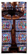 Stained Glass At Notre Dame Cathedral Beach Towel