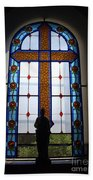 Stained Glass Cross Window Of Hope Beach Towel