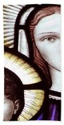 Stained Glass Holy Family Beach Towel