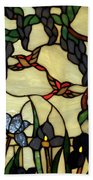 Stained Glass Humming Bird Vertical Window Beach Towel by Thomas Woolworth