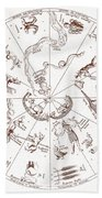 Star Map From Kirchers Oedipus Beach Towel by Science Source