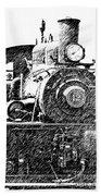 steam Engine pencil sketch Beach Towel