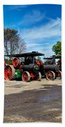 Steam Engines Lined Up Beach Towel