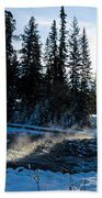 Steaming River In Winter Beach Towel