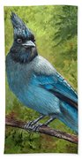 Stellar Jay Beach Towel by Dee Carpenter